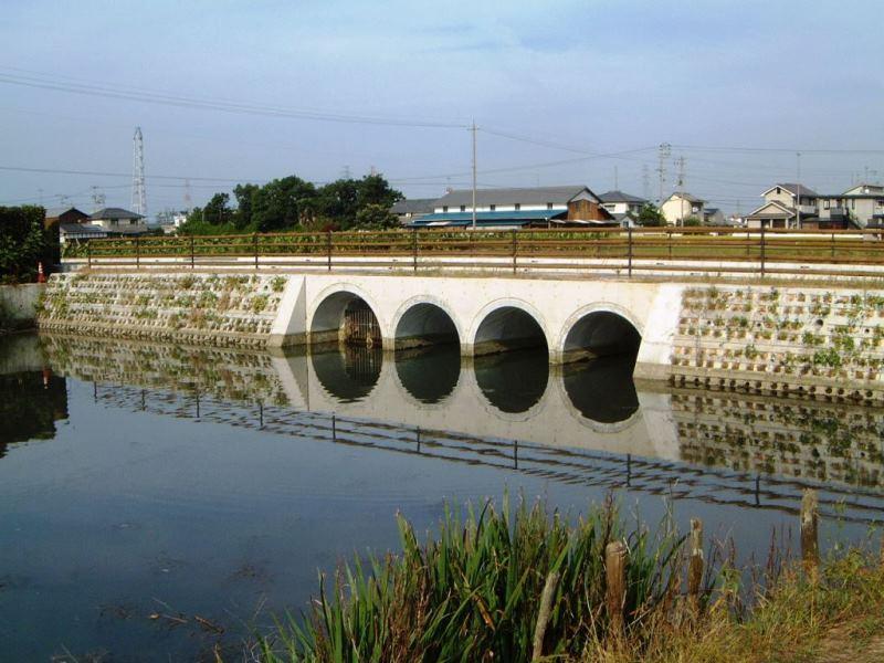 道路用擁壁での施工例(池の中の築堤)