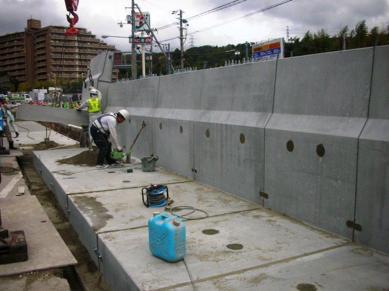 遮音壁基礎付L型剛性防護柵の施工例