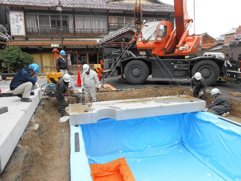 既設防火水槽のスラブ取替えと機能強化の施工例