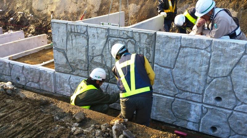 土留め直積擁壁の施工例